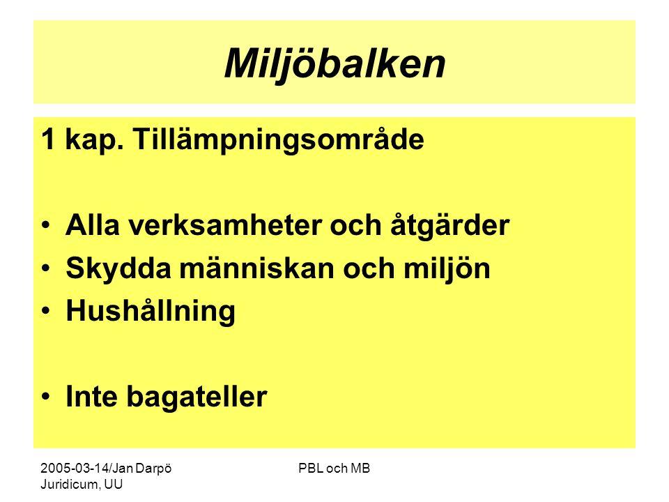2005-03-14/Jan Darpö Juridicum, UU PBL och MB Miljöbalken 1 kap.