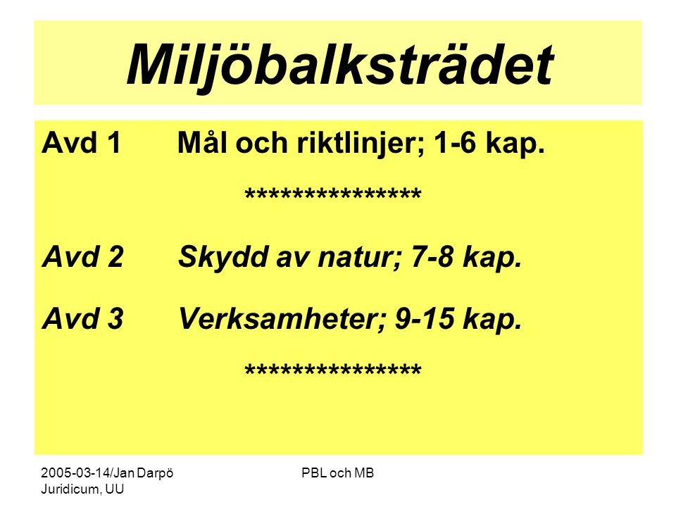 2005-03-14/Jan Darpö Juridicum, UU PBL och MB Miljöbalksträdet Avd 1Mål och riktlinjer; 1-6 kap.