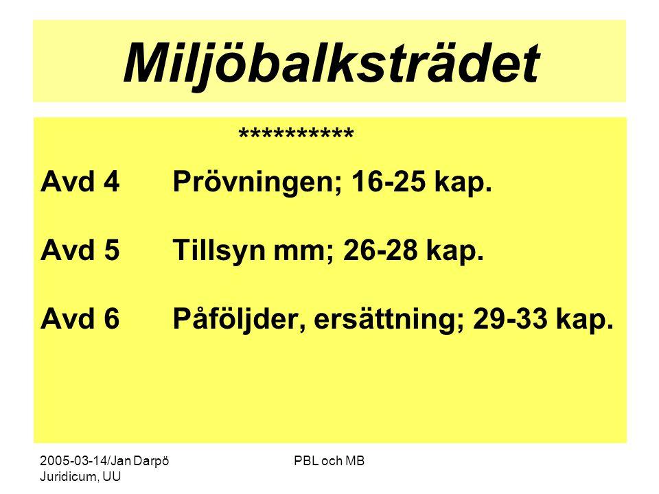 2005-03-14/Jan Darpö Juridicum, UU PBL och MB Miljöbalksträdet ********** Avd 4Prövningen; 16-25 kap.