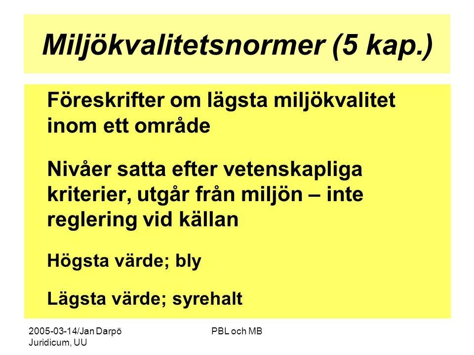 2005-03-14/Jan Darpö Juridicum, UU PBL och MB Miljökvalitetsnormer (5 kap.) Föreskrifter om lägsta miljökvalitet inom ett område Nivåer satta efter vetenskapliga kriterier, utgår från miljön – inte reglering vid källan Högsta värde; bly Lägsta värde; syrehalt