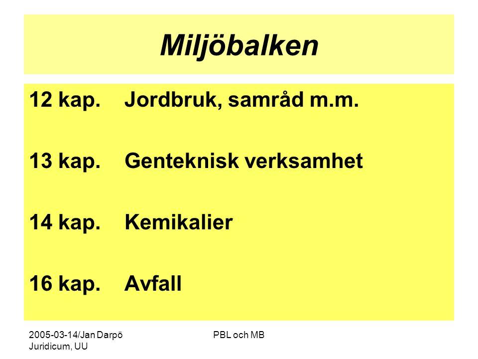 2005-03-14/Jan Darpö Juridicum, UU PBL och MB Miljöbalken 12 kap.