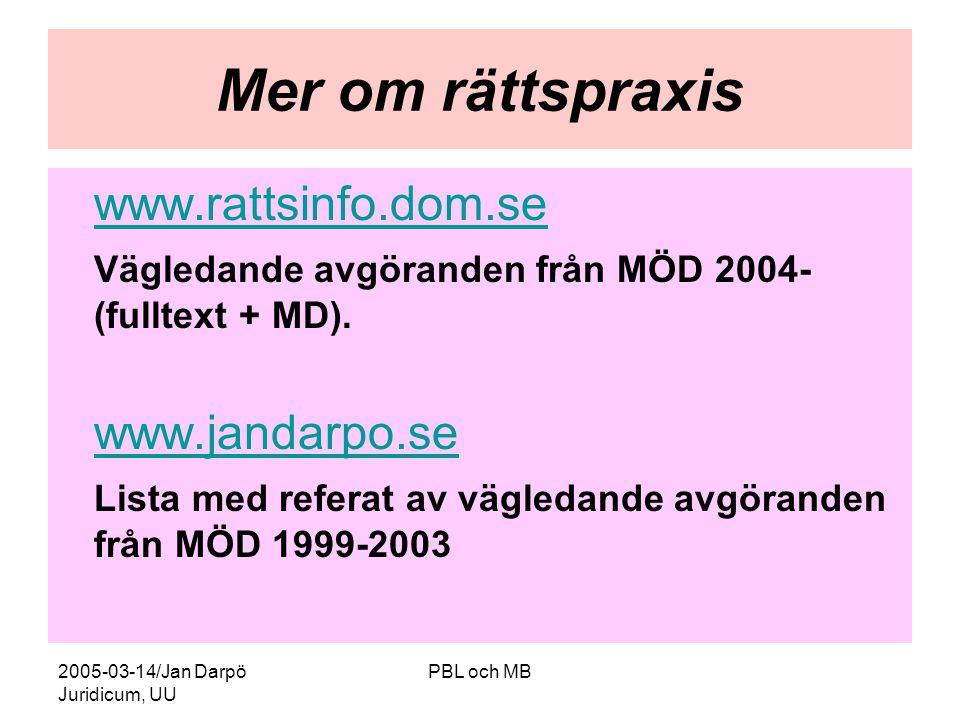2005-03-14/Jan Darpö Juridicum, UU PBL och MB Mer om rättspraxis www.rattsinfo.dom.se Vägledande avgöranden från MÖD 2004- (fulltext + MD).