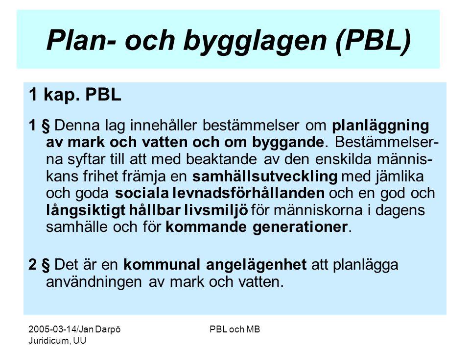 2005-03-14/Jan Darpö Juridicum, UU PBL och MB Plan- och bygglagen (PBL) 1 kap.
