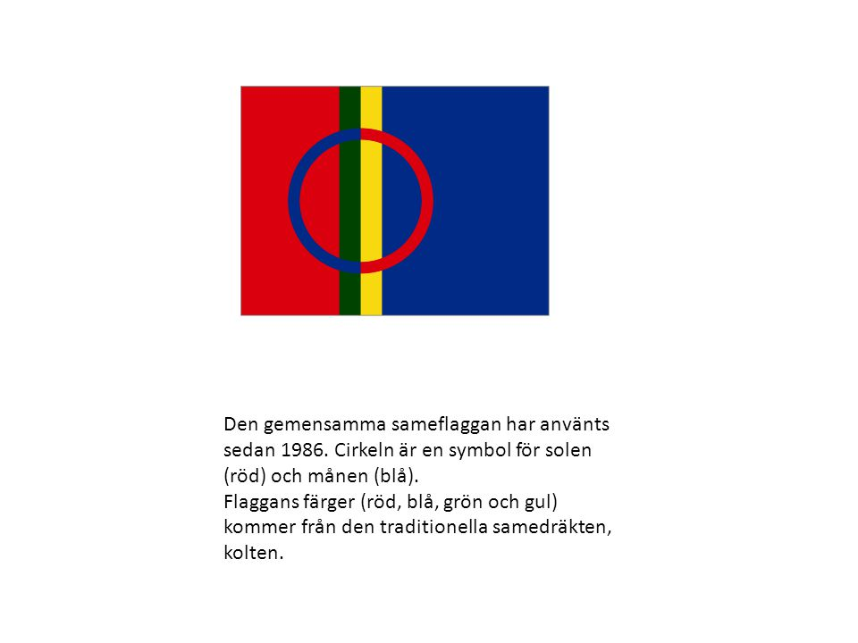 Den gemensamma sameflaggan har använts sedan 1986. Cirkeln är en symbol för solen (röd) och månen (blå). Flaggans färger (röd, blå, grön och gul) komm