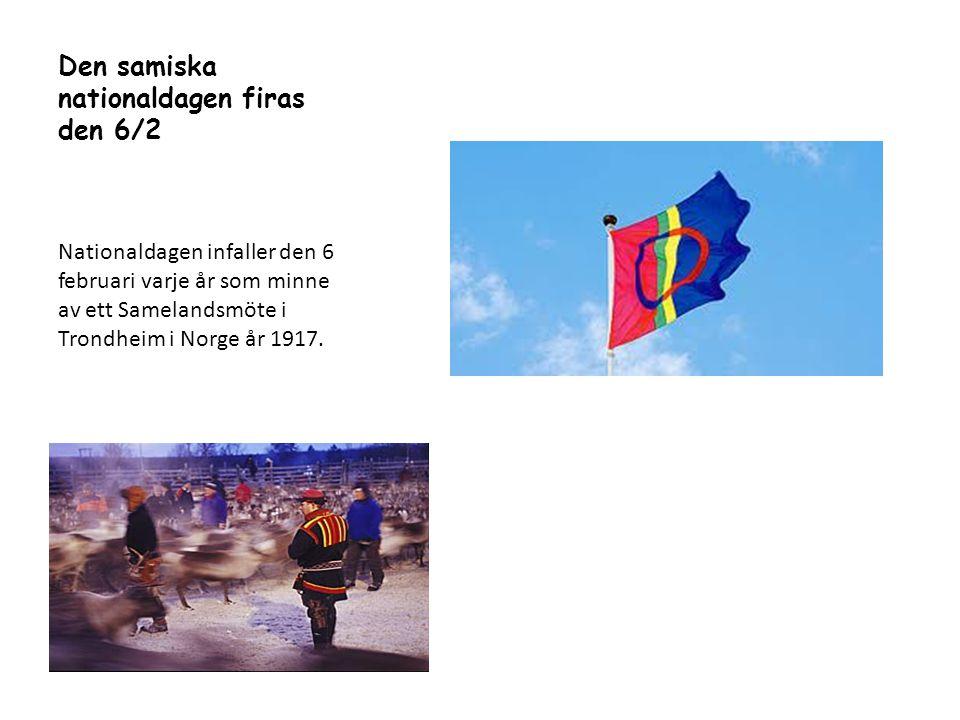 Den samiska nationaldagen firas den 6/2 Nationaldagen infaller den 6 februari varje år som minne av ett Samelandsmöte i Trondheim i Norge år 1917.