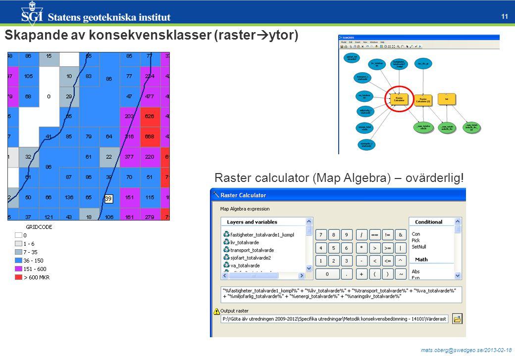 mats.oberg@swedgeo.se/2013-02-18 11 Skapande av konsekvensklasser (raster  ytor) Raster calculator (Map Algebra) – ovärderlig!