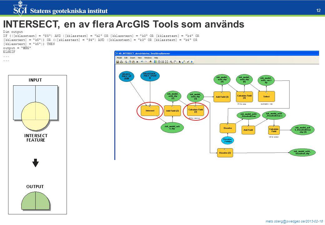 mats.oberg@swedgeo.se/2013-02-18 12 INTERSECT, en av flera ArcGIS Tools som används Dim output IF (([sklasstext] =