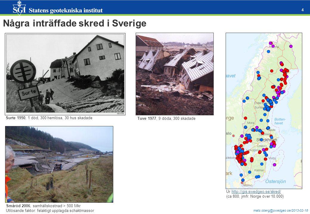 mats.oberg@swedgeo.se/2013-02-18 4 Några inträffade skred i Sverige Ur http://gis.swedgeo.se/skred/http://gis.swedgeo.se/skred/ (ca 800, jmfr. Norge ö