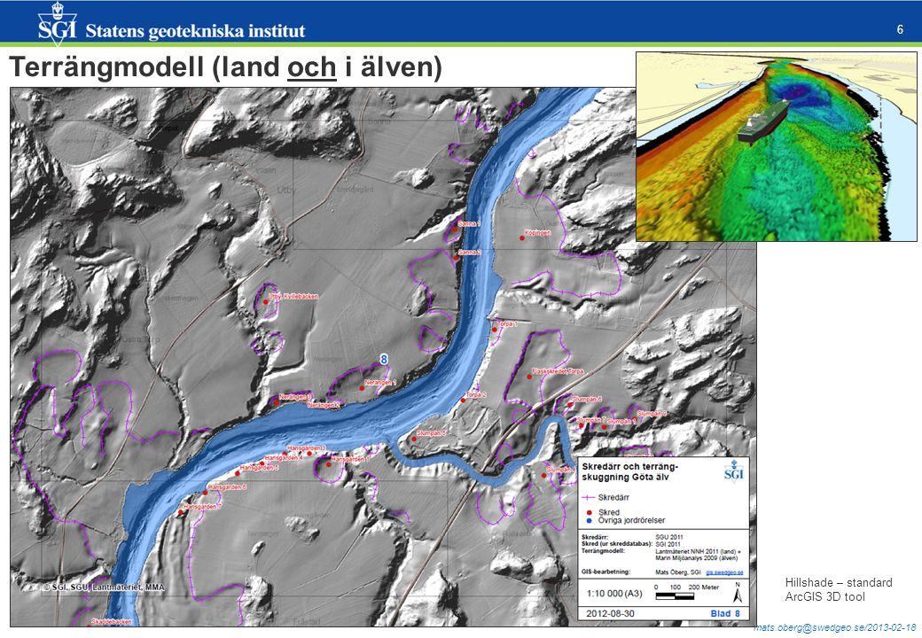 mats.oberg@swedgeo.se/2013-02-18 6 Terrängmodell (land och i älven) Hillshade – standard ArcGIS 3D tool