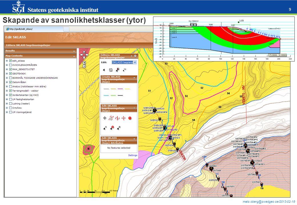 mats.oberg@swedgeo.se/2013-02-18 9 Edit_sklass Skapande av sannolikhetsklasser (ytor)