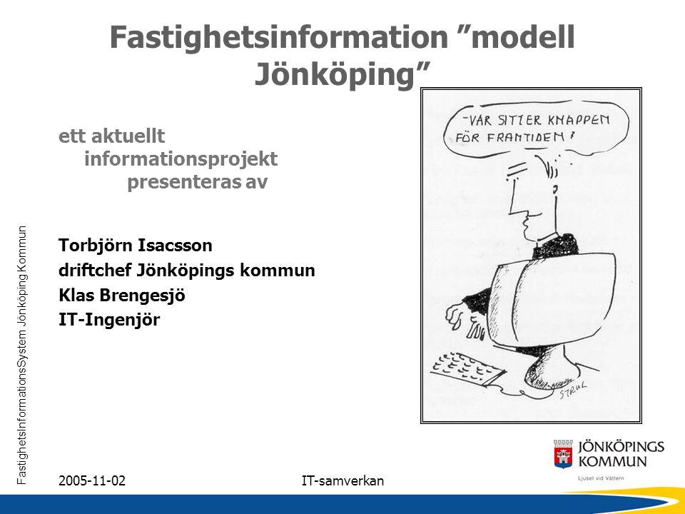 """FastighetsInformationsSystem Jönköping Kommun 2005-11-02IT-samverkan Fastighetsinformation """"modell Jönköping"""" ett aktuellt informationsprojekt present"""