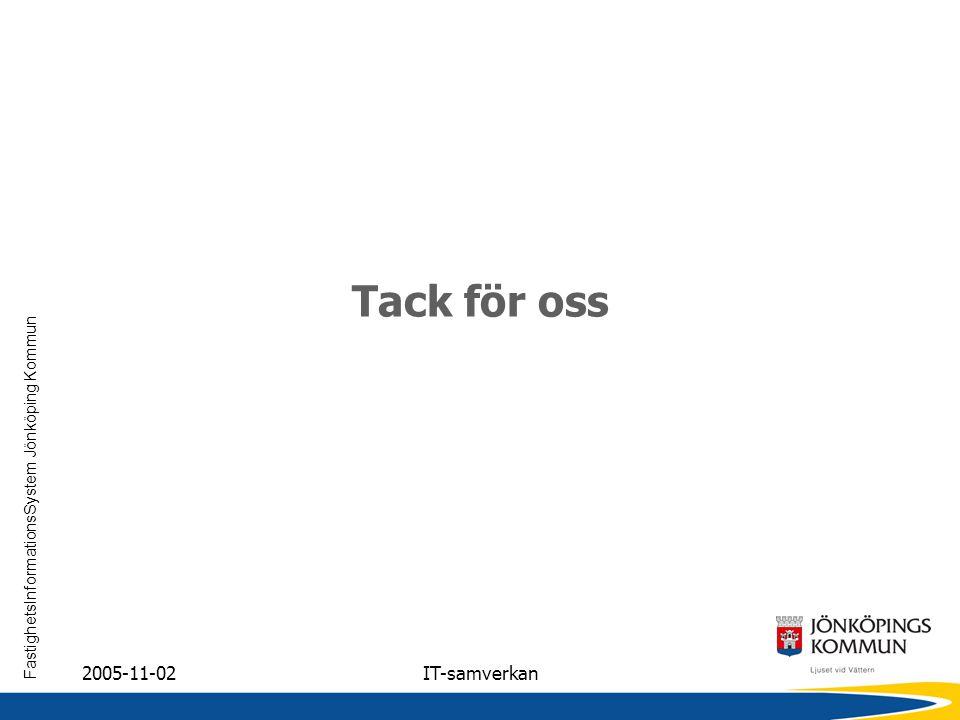 FastighetsInformationsSystem Jönköping Kommun 2005-11-02IT-samverkan Tack för oss