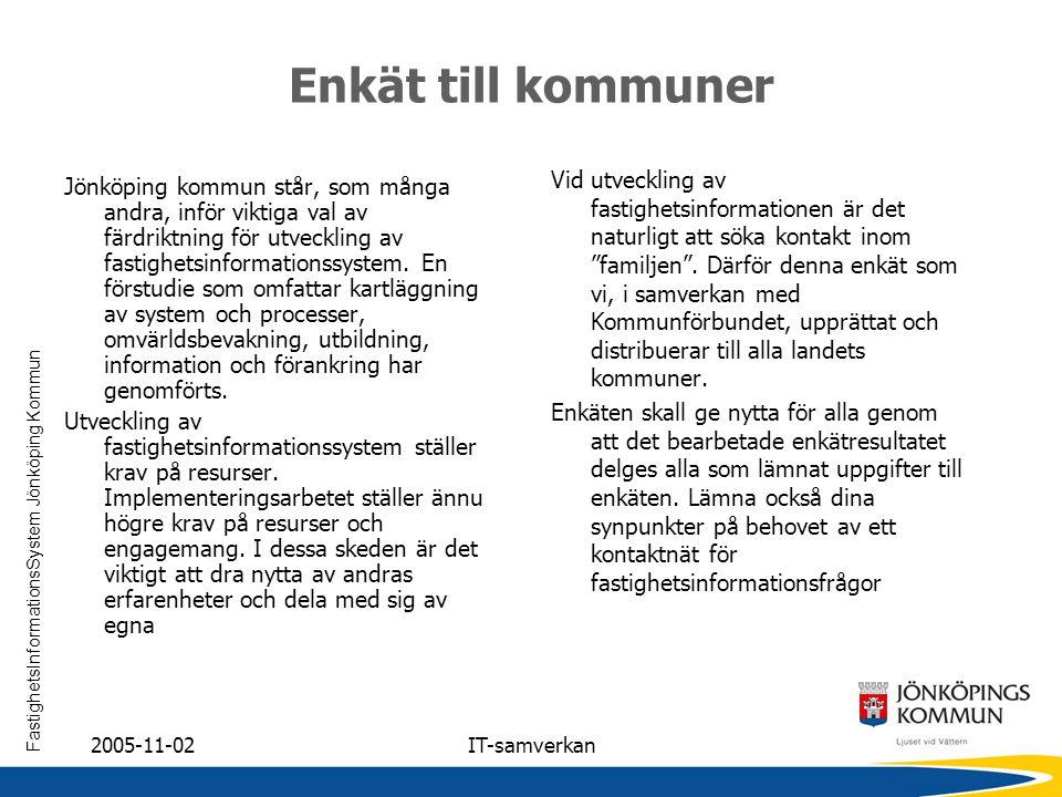 FastighetsInformationsSystem Jönköping Kommun 2005-11-02IT-samverkan Enkät till kommuner Jönköping kommun står, som många andra, inför viktiga val av