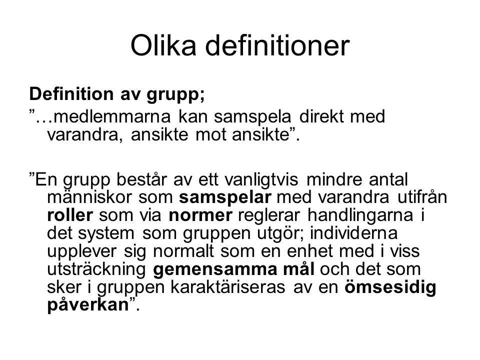 """Olika definitioner Definition av grupp; """"…medlemmarna kan samspela direkt med varandra, ansikte mot ansikte"""". """"En grupp består av ett vanligtvis mindr"""