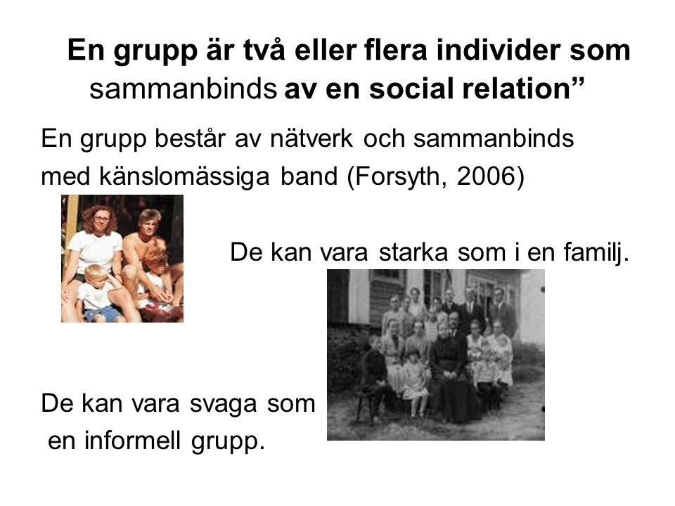 """En grupp är två eller flera individer som sammanbinds av en social relation"""" En grupp består av nätverk och sammanbinds med känslomässiga band (Forsyt"""