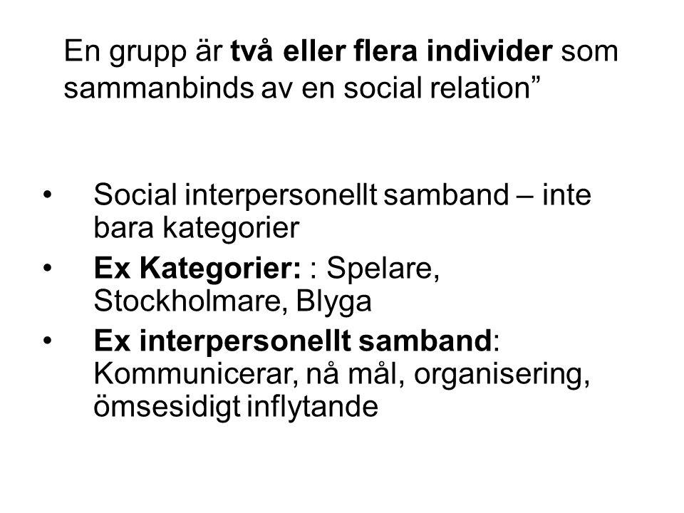 •Social interpersonellt samband – inte bara kategorier •Ex Kategorier: : Spelare, Stockholmare, Blyga •Ex interpersonellt samband: Kommunicerar, nå må
