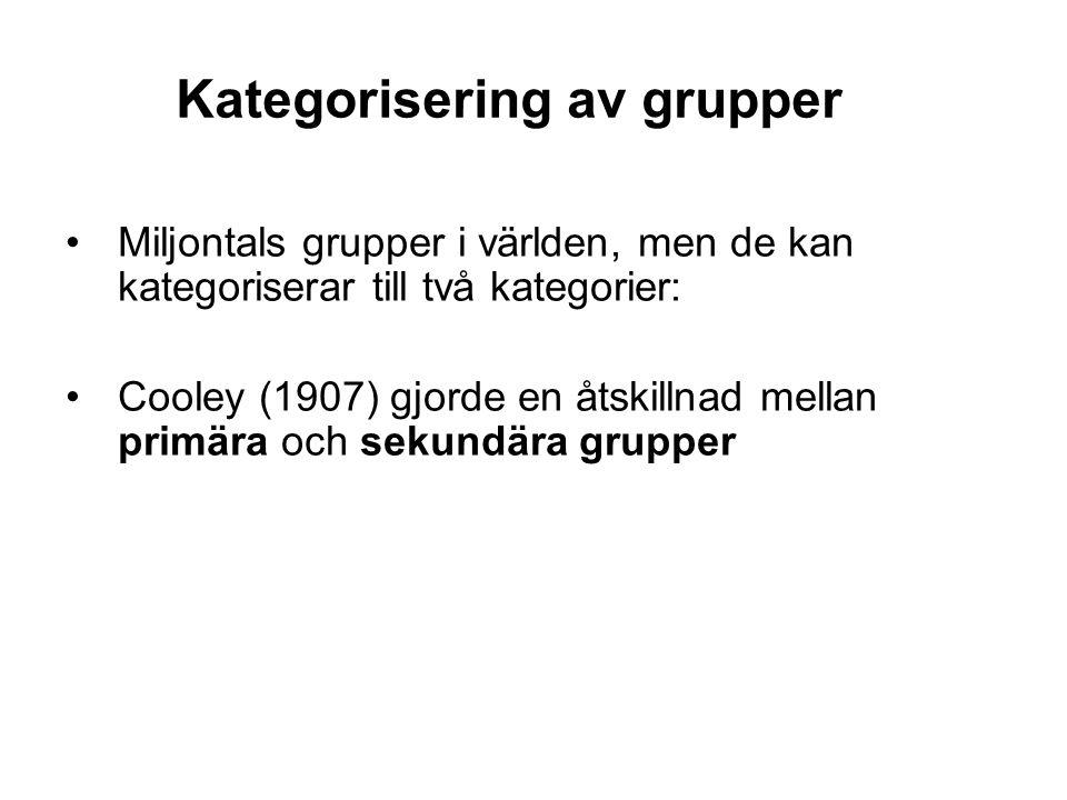 Kategorisering av grupper •Miljontals grupper i världen, men de kan kategoriserar till två kategorier: •Cooley (1907) gjorde en åtskillnad mellan prim