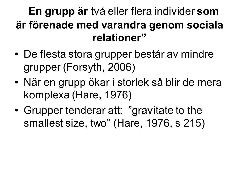 """En grupp är två eller flera individer som är förenade med varandra genom sociala relationer"""" •De flesta stora grupper består av mindre grupper (Forsyt"""