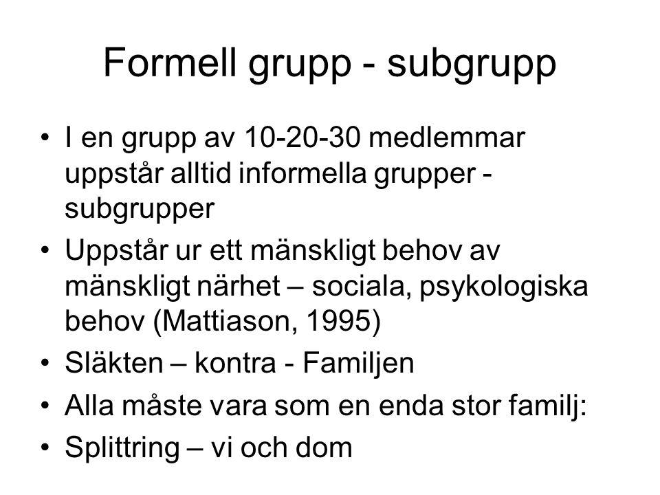 Formell grupp - subgrupp •I en grupp av 10-20-30 medlemmar uppstår alltid informella grupper - subgrupper •Uppstår ur ett mänskligt behov av mänskligt