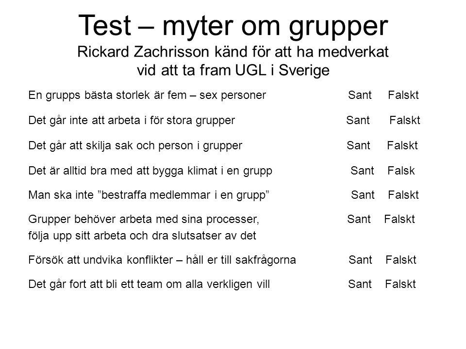 Test – myter om grupper Rickard Zachrisson känd för att ha medverkat vid att ta fram UGL i Sverige En grupps bästa storlek är fem – sex personer Sant
