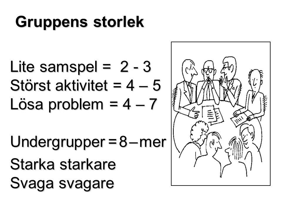 Gruppens storlek Lite samspel = 2 - 3 Störst aktivitet = 4 – 5 Lösa problem = 4 – 7 Undergrupper = 8 – mer Starka starkare Svaga svagare
