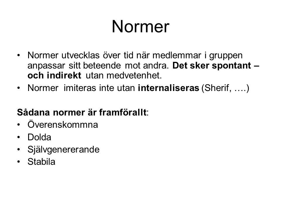 Normer •Normer utvecklas över tid när medlemmar i gruppen anpassar sitt beteende mot andra. Det sker spontant – och indirekt utan medvetenhet. •Normer