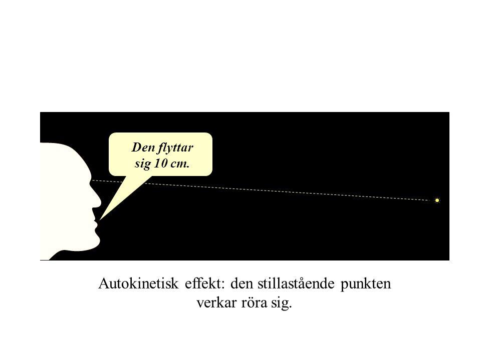 Autokinetisk effekt: den stillastående punkten verkar röra sig. Den flyttar sig 10 cm.