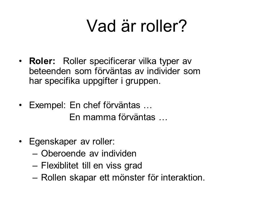 Vad är roller? •Roler: Roller specificerar vilka typer av beteenden som förväntas av individer som har specifika uppgifter i gruppen. •Exempel: En che