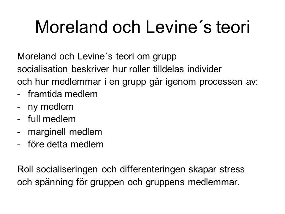 Moreland och Levine´s teori Moreland och Levine´s teori om grupp socialisation beskriver hur roller tilldelas individer och hur medlemmar i en grupp g