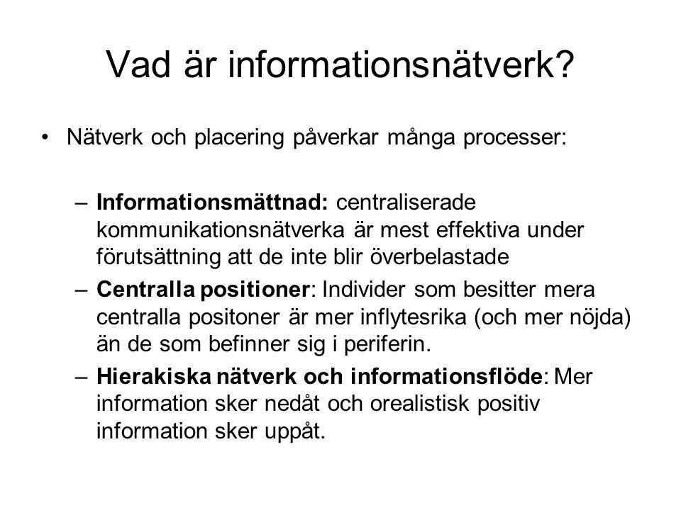 Vad är informationsnätverk? •Nätverk och placering påverkar många processer: –Informationsmättnad: centraliserade kommunikationsnätverka är mest effek