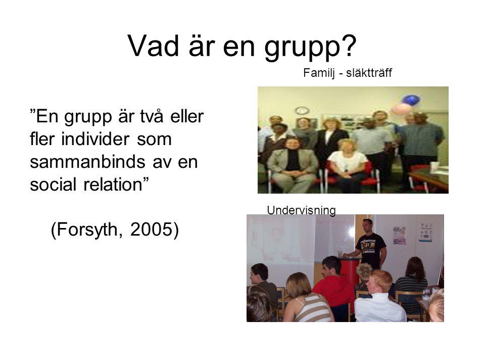 """Vad är en grupp? """"En grupp är två eller fler individer som sammanbinds av en social relation"""" (Forsyth, 2005) Familj - släktträff Undervisning"""