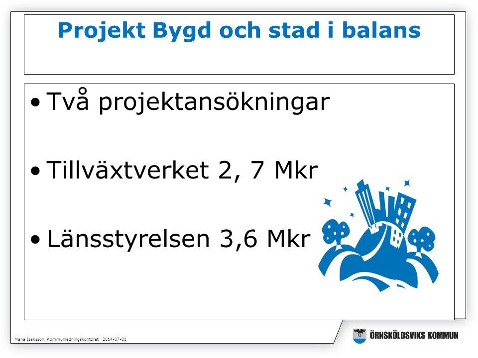 Maria Isaksson, Kommunledningskontoret 2014-07-01 Projekt Bygd och stad i balans •Två projektansökningar •Tillväxtverket 2, 7 Mkr •Länsstyrelsen 3,6 Mkr