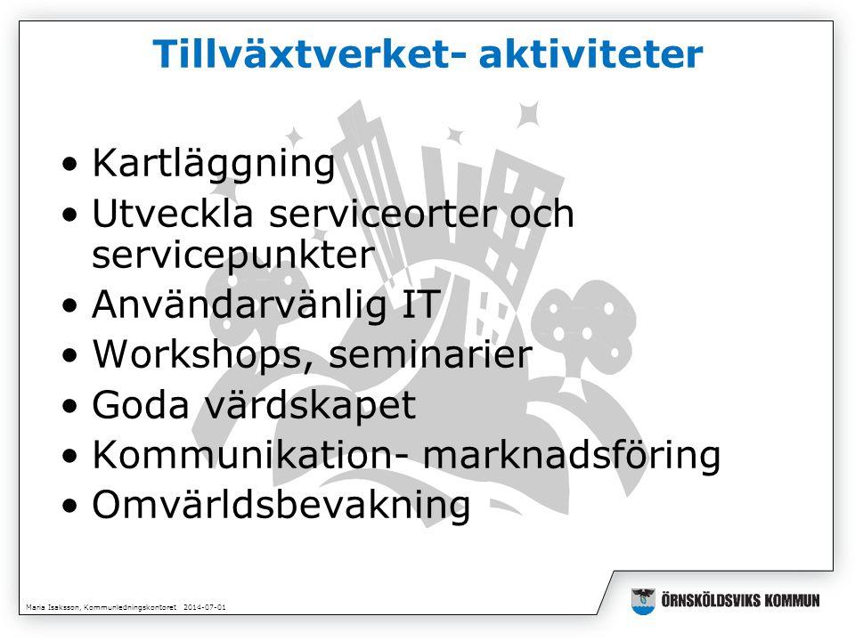 Maria Isaksson, Kommunledningskontoret 2014-07-01 Tillväxtverket- aktiviteter •Kartläggning •Utveckla serviceorter och servicepunkter •Användarvänlig IT •Workshops, seminarier •Goda värdskapet •Kommunikation- marknadsföring •Omvärldsbevakning