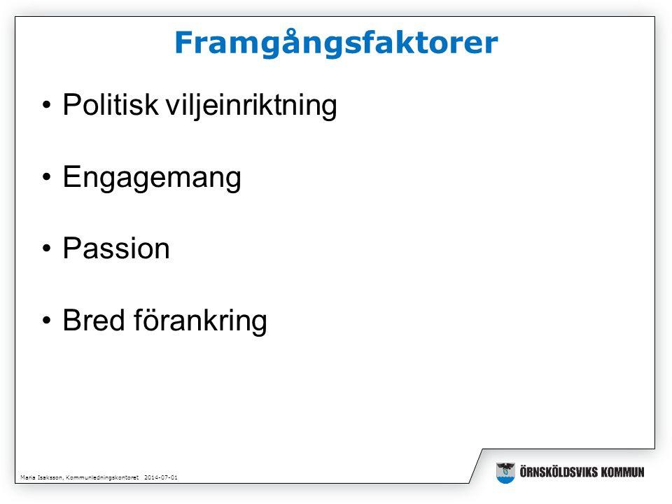 Maria Isaksson, Kommunledningskontoret 2014-07-01 Framgångsfaktorer •Politisk viljeinriktning •Engagemang •Passion •Bred förankring