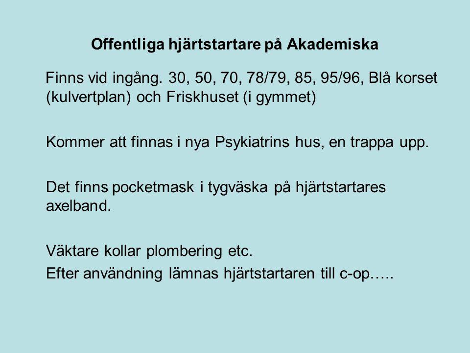 Offentliga hjärtstartare på Akademiska Finns vid ingång. 30, 50, 70, 78/79, 85, 95/96, Blå korset (kulvertplan) och Friskhuset (i gymmet) Kommer att f