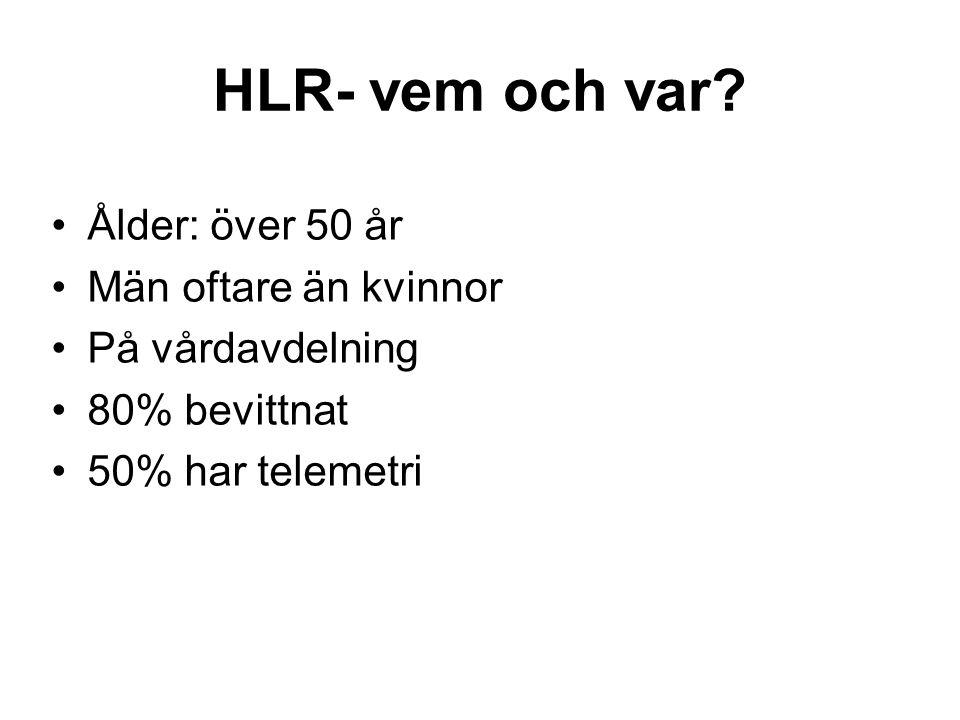 HLR- vem och var? •Ålder: över 50 år •Män oftare än kvinnor •På vårdavdelning •80% bevittnat •50% har telemetri