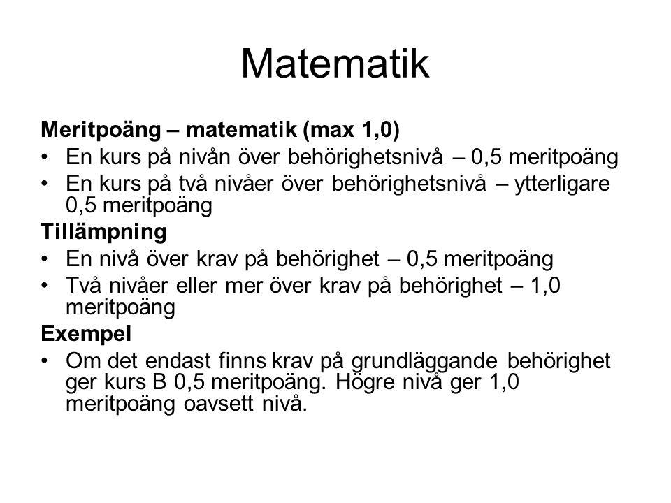 Matematik Meritpoäng – matematik (max 1,0) •En kurs på nivån över behörighetsnivå – 0,5 meritpoäng •En kurs på två nivåer över behörighetsnivå – ytter