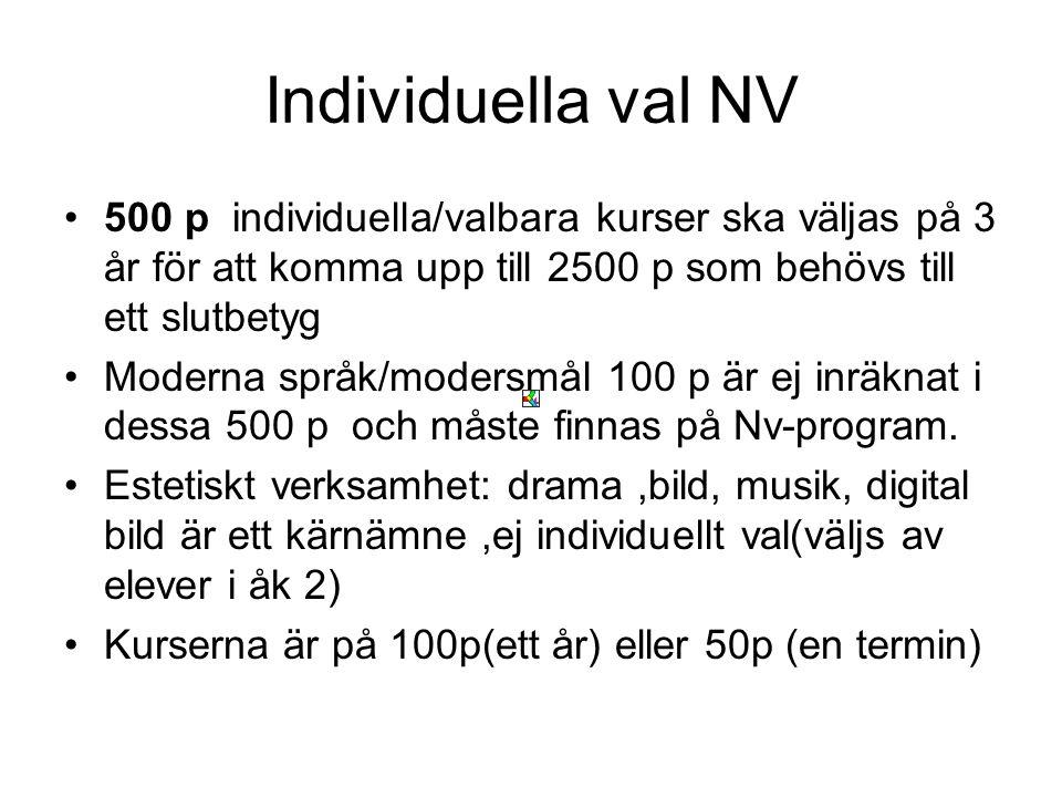 Individuella val NV •500 p individuella/valbara kurser ska väljas på 3 år för att komma upp till 2500 p som behövs till ett slutbetyg •Moderna språk/m