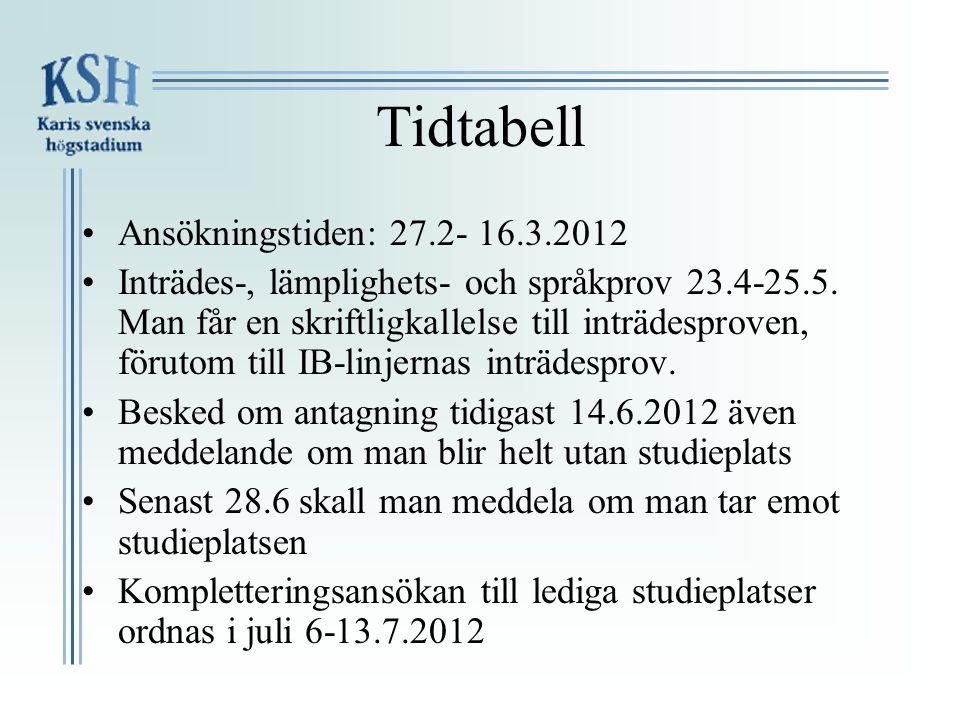Tidtabell •Ansökningstiden: 27.2- 16.3.2012 •Inträdes-, lämplighets- och språkprov 23.4-25.5. Man får en skriftligkallelse till inträdesproven, föruto