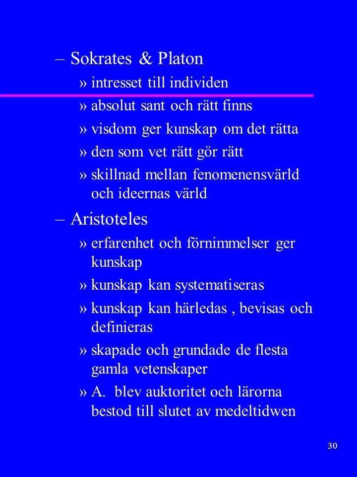 29 Grekisk filosofi Intresset vändes från det ockulta till omgivningen. Förklaring av tillvaron det viktiga. u Hellensk filosofi – Joniska naturfiloso