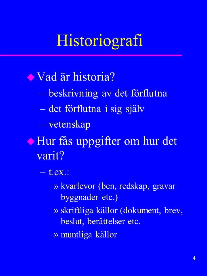 3 Människan miljön och kulturen KURS 1 DISPOSITION –Historiografi –Drag i människans utveckling –Floddalskulturerna –Grekland –Rom –Folkvandringarna –