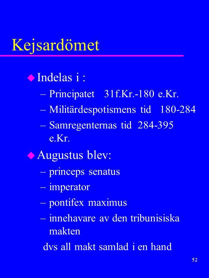 51 (2:a triumviratet) Octavianus segrade och tog namnet Augustus 31fKr. Kejsardömet hade uppstått
