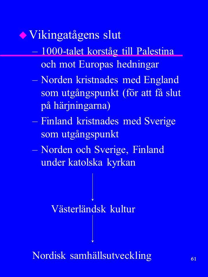 60 u Färder i Österled –i huvudsak svenskar u Syfte –i huvudsak handel u Mål –Kaspiska havet »Neva -Volga –Svarta Havet »Dyna-Dnjepr u Annat: –Birka centrum –Rurik.