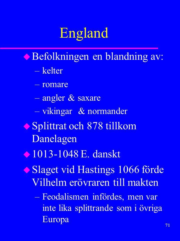 70 u Från 900-talet capetingernas ätt som systematiskt byggde upp kungamakten u norra F.