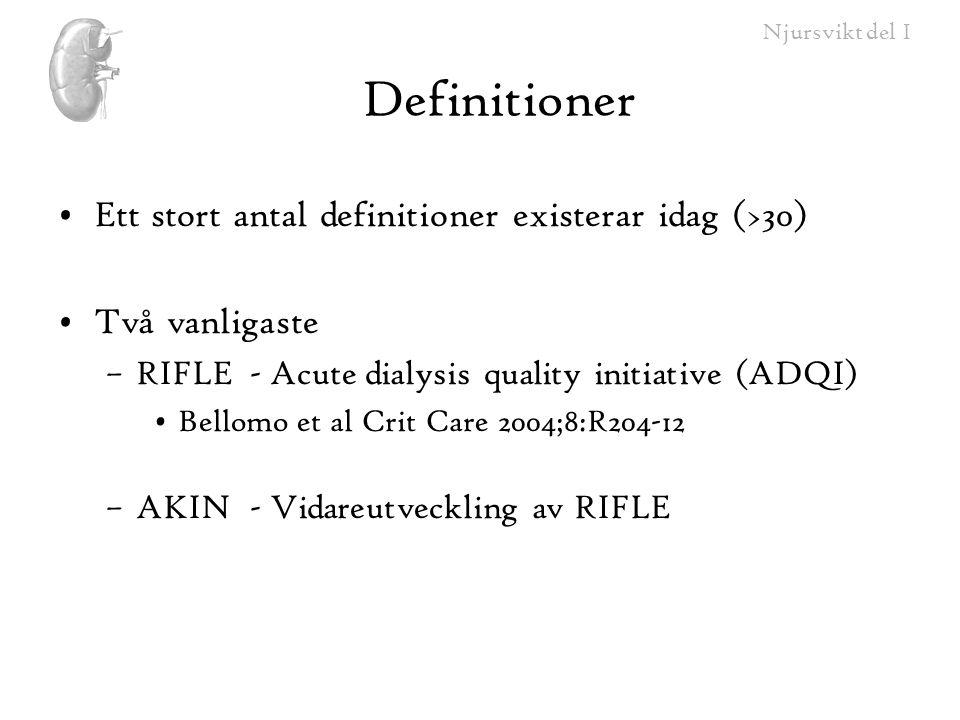 Njursvikt del I Indikationer för CRRT •Dialysbehov vid cirkulatorisk instabilitet •Övriga –Hög dos hemofiltration vid sepsis.