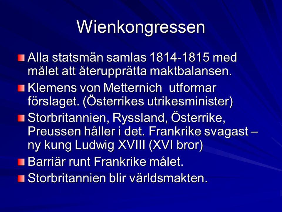 Wienkongressen Alla statsmän samlas 1814-1815 med målet att återupprätta maktbalansen. Klemens von Metternich utformar förslaget. (Österrikes utrikesm