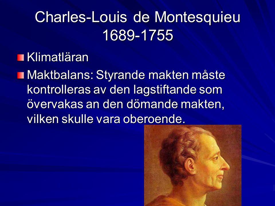 Charles-Louis de Montesquieu 1689-1755 Klimatläran Maktbalans: Styrande makten måste kontrolleras av den lagstiftande som övervakas an den dömande makten, vilken skulle vara oberoende.