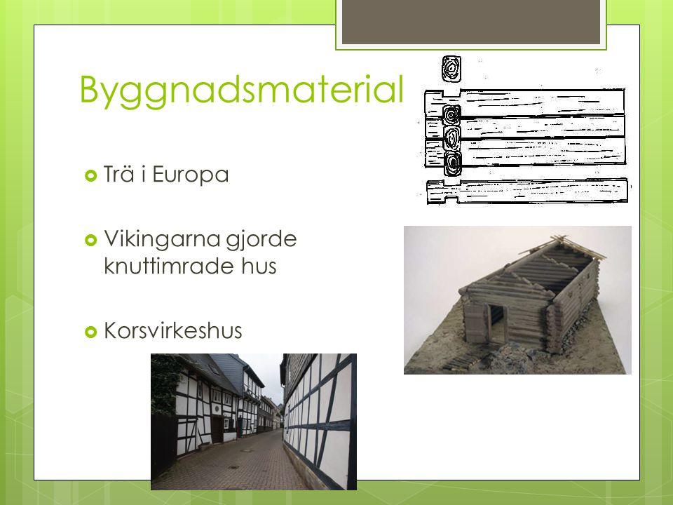 Byggnadsmaterial  Trä i Europa  Vikingarna gjorde knuttimrade hus  Korsvirkeshus