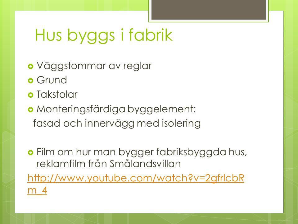 Filmer  Film om vad man skall tänka på när man bygger hus – reklamfilm för Myresjöhus http://www.youtube.com/watch?v=p kknObBwFtUhttp://www.youtube.com/watch?v=p kknObBwFtU  Film om hur man gjuter en grund http://www.youtube.com/watch?v=7 L0SmFYR7do