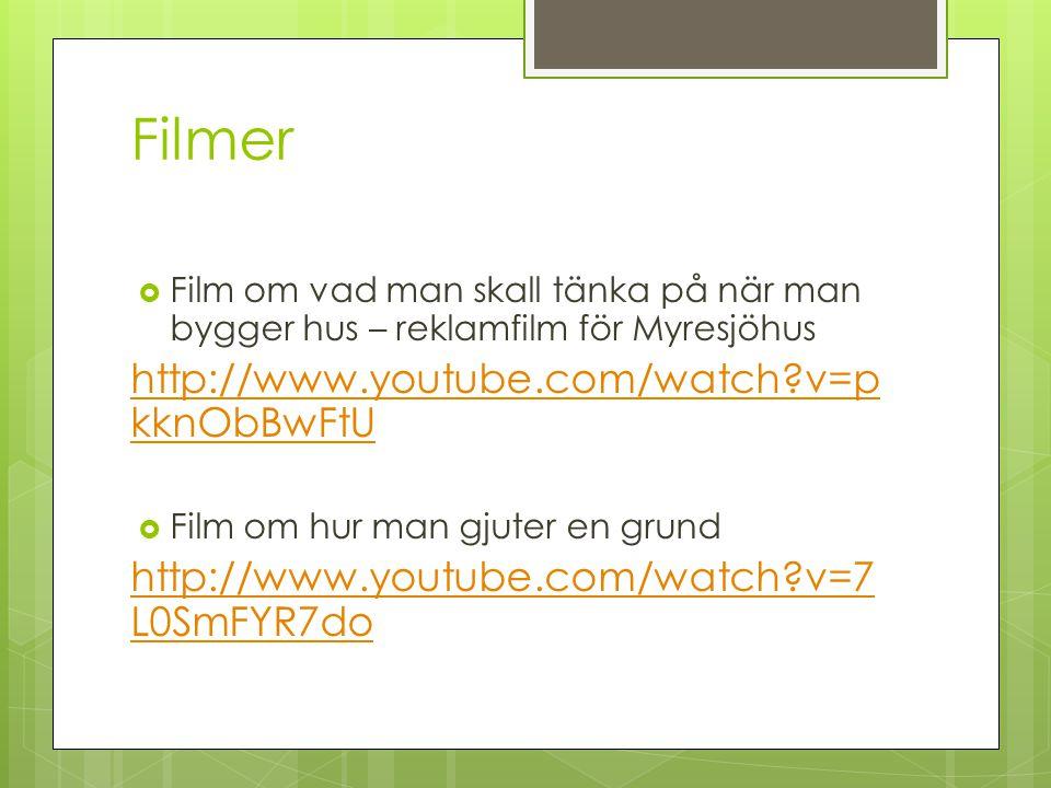 Filmer  Film om vad man skall tänka på när man bygger hus – reklamfilm för Myresjöhus http://www.youtube.com/watch?v=p kknObBwFtUhttp://www.youtube.c